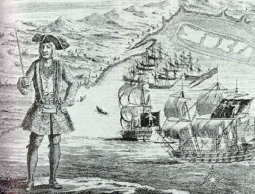 Picture Of Famous Pirate Bartholomew Roberts And His Ship
